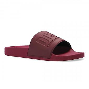 Diesel SA-Valla Burgundy Slide Sandals