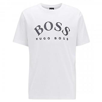 Boss Green Hugo Boss Tee 5 Curved Logo T-Shirt White 50432459