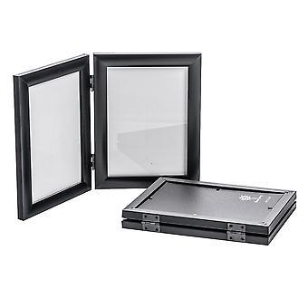 Nicola Spring 5x7 plegable doble marco de la foto en negro - paquete de 2