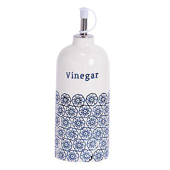 Nicola Spring Hand-Printed Vinegar Bottle with Pourer - Porcelain with Stainless Steel Spout - Navy - 500ml