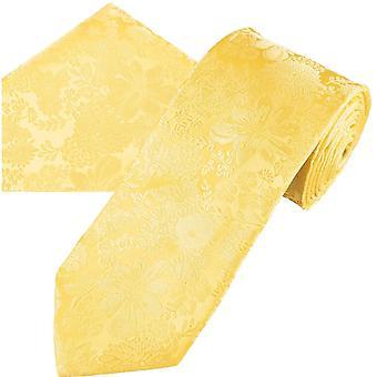 Slipsar Planet Guld Etikett Citron gul själv blomma mönstrad Män's Silk Tie & Pocket Square näsduk Set