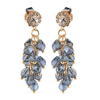 Saphir bleu simulé, boucles d'oreilles en cristal blanc avec ton d'or push back
