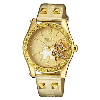 Rebel Women-apos;s RB111-9101 Gravesend Crystals Puzzel-Piece Dial Gold Leather Watch