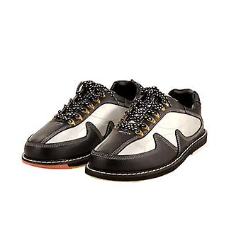 Mens Bowling Shoes, Skidproof Sole, Breathable Sneakers, Soft Leather Trainers