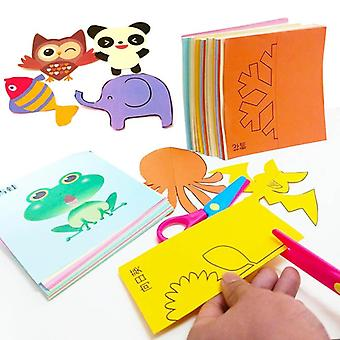 Children Cartoon Diy Colorful Paper -educational Cutting Folding