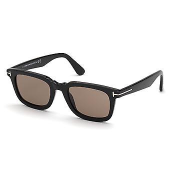 Tom Ford Dario TF817 01E Glänzende schwarz/braune Sonnenbrille