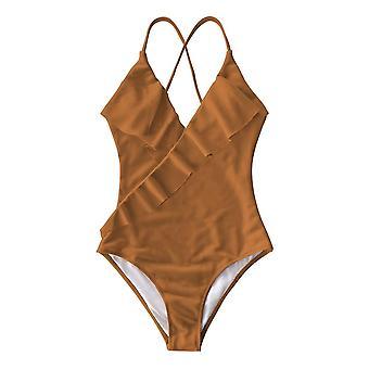 Happy Ending Badedragt Falbala V Neck Ruffle Sexy Monokini Ladies Beach Badning