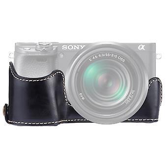 1/4 tuuman kierre PU nahkakamera Puolikotelon pohja Sony A6400 / ILCE-A6400 (musta)