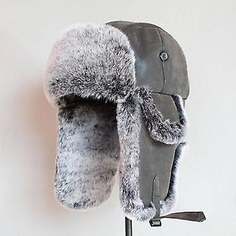 Bomber Hats Winter Men Warm Russian With Ear Flap Pu Leather Fur Trapper