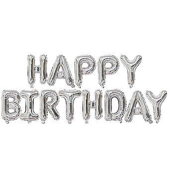Happy birthday balloon banner - silver