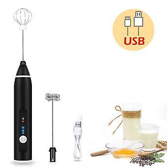 Batidor de huevos 3 velocidades batidor cabezas eggbeater frother stirrer USB recargable mano portátil batidora de alimentos whisk