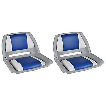 vidaXL قارب مقاعد 2 Pcs. مسند الظهر قابلة للطي مع وسادة الأزرق والأبيض
