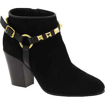 Giuseppe Zanotti Women's squared heels ankle boots in black suede gold details