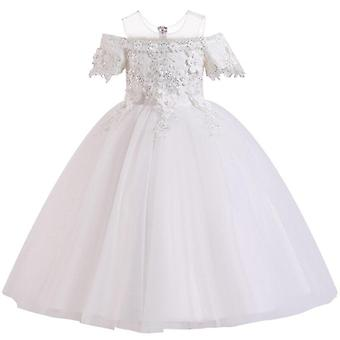 Lace Petal Communion Birthday Long Banquet Pageant Dresses Wedding Party Gown