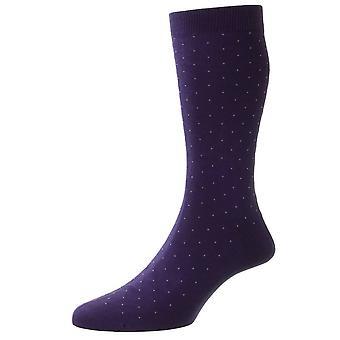 Pantherella Gadsbury Algodón Fil D'Ecosse Pin Dot Calcetines - Púrpura