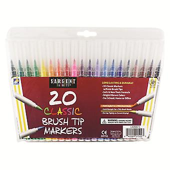Sargent Art Classic Brush Tip Markers, 20 Count