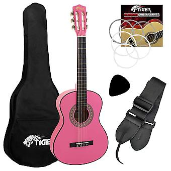 Tiger classical guitar pack, beginners classical guitar package with accessories in pink, 3/4 size