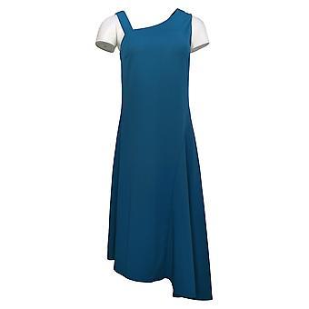 H door Halston Dress One-Shoulder Asymmetrische Hem Midi Blue A306920