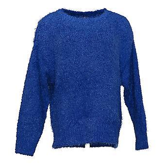 G By Giuliana Women's Sweater Smushey Yarn Pull Over Blue 741-482