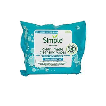 Lingettes nettoyantes simples Clear+ Matte 25 lingettes pour nettoyer en profondeur la peau grasse