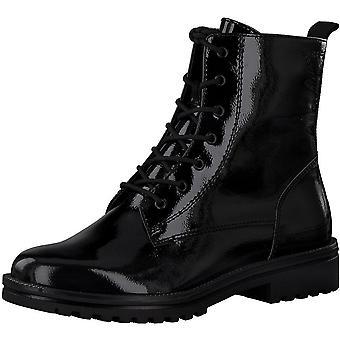 Booties Low Heels Schwarz Patent