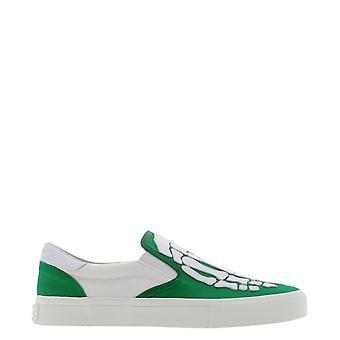 Amiri Mfs004344grünweiße Männer's Weiß/Grün Baumwollslip auf Sneakers