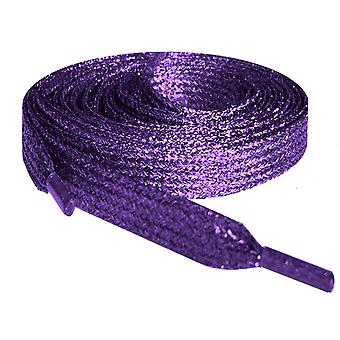 Purple Metallic Flat Glitter Shoelaces