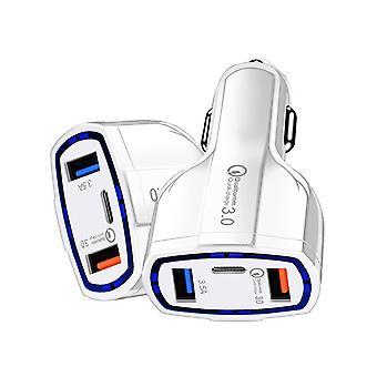 Cargador de coche rápido con 2 puertos USB y puerto tipo C