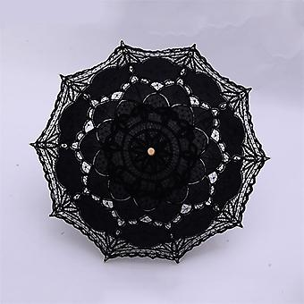 H&s Bridal Umbrella, Vintage White Lace Manual Opening Wedding For Shower