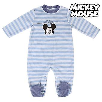 Baby's long-sleeved romper suit mickey mouse blue stripes