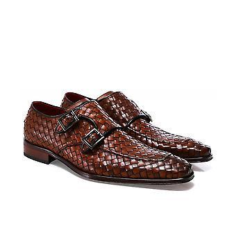Jeffery-West Woven Leather Scarface Monk Shoes