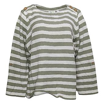 Denim & Co. Mulheres's Top Textured Knit Boat Neck W/Roll Tab Green A392183