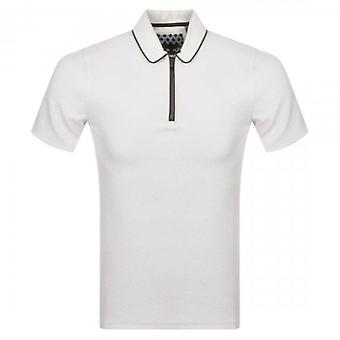Ted Baker Flamin Short Sleeve Textured Polo Shirt Off White