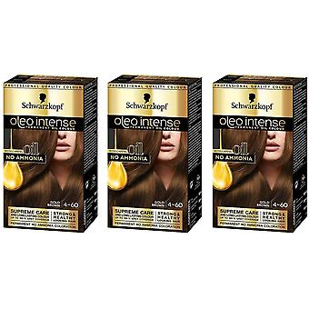 Schwarzkopf Oleo Intense 4-60 Gold Brown Permanent Hair Dye Colour x 3