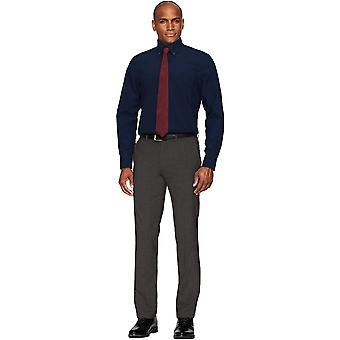 """BUTTONED DOWN Men's Classic Fit Button Collar Solid Pocket Options, Navy 17.5"""" Neck 38"""" Sleeve"""
