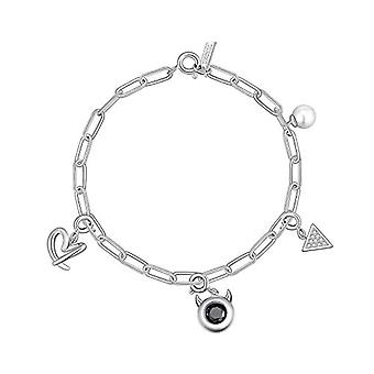 Onchic, women's bracelet with crystal pearls, little devil and heart, for girls and girls, white gold plated, Ref gift. 0791781856824
