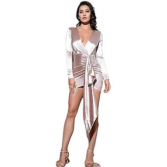 Sexy V-Neck Shirring Streamer Decoration Party Dress Autumn/Winter For Ladies