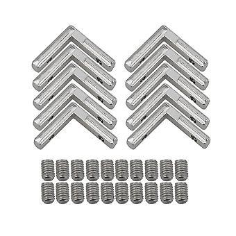 10piece 2020 Corner Connector Joint Bracket Silver Carbon Steel Aluminium