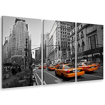 Tableau triptyque Tableau photo taxis jaunes en plein new york - 90x60 cm