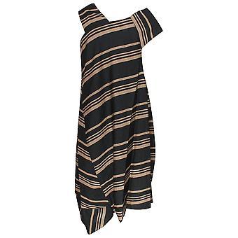 Latte Sleeveless Modern Stripe Asymetric Dress