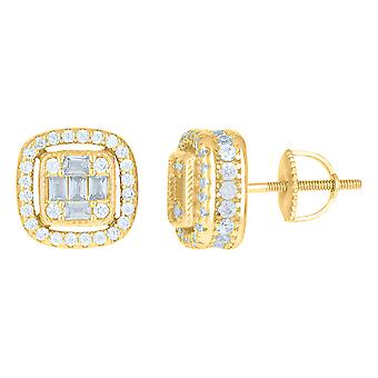 925 Sterling Silver Yellow tone Mens Princess cut Cubic zirconia Fashion Stud Earrings Jewelry Gifts for Men