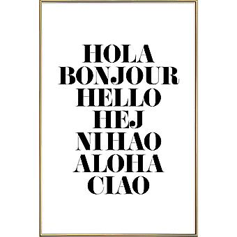 JUNIQE Print - Hellos - Quotes & Slogans Poster in Black & White