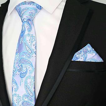 Laventeli & sininen Paisley kuvio tie & tasku neliön setti