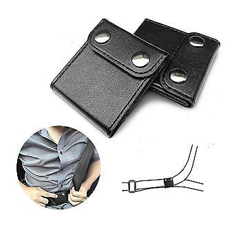 أسود 2pcs حزام مقعد السيارة ضبط حزام الرقبة الموقف قفل مقطع حامي cai1549