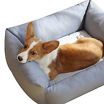S grå kjæledyr myk liten hund bedrectangle bomull hundeseng for små hunder x5234