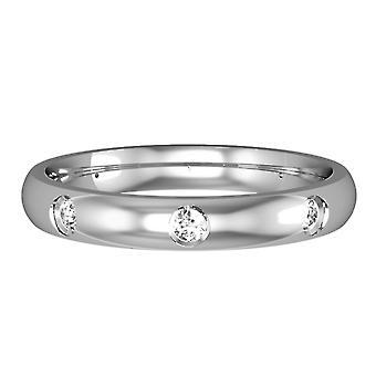 ジュエルコ ロンドン 9ct ホワイトゴールド - ダイヤモンド - 3mm コート型セット 結婚指輪