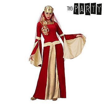 زي للبالغين سيدة القرون الوسطى الأحمر