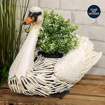 Country Living Handmade Metal Swan Planter