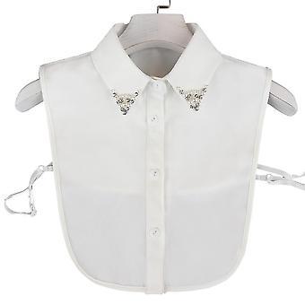 חולצה נתיקה רקמת צווארון מזויף קריסטל משובץ צווארון מזויף