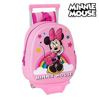 3D-koululaukku pyörillä Minnie Mouse Vaaleanpunainen